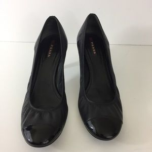 Prada Black Leather Pumps Patent Leather Cap Toe